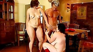 Two hot mature femdom BBW use younger guys cock