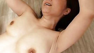 Mature Chick Getting Her Furry Pussy Fucked Cum To Body On The Floor In The Bath