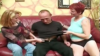 Pallid redhead mature joins in with couple
