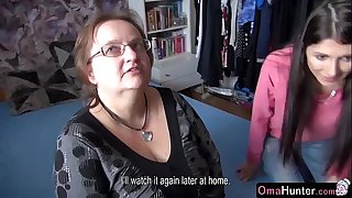 OmaHunter Teen girl slurps chubby mature big tits