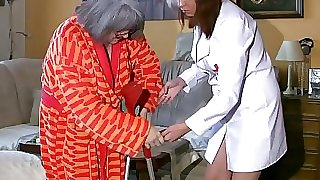 BBW chubby Nurse masturbate with aged Grandmother