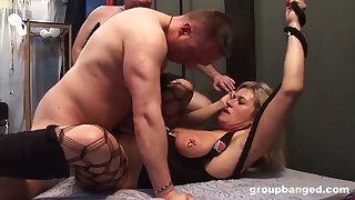pierced german mature gets broken in a large group bang